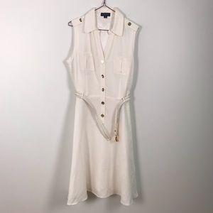 Tahari white linen collar sleeveless dress size 10